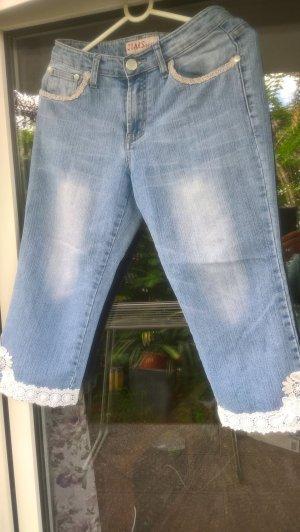 Jeans 7/8 bleu azur tissu mixte