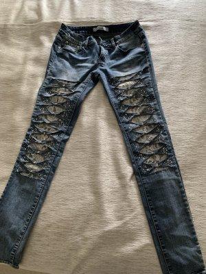 Pantalone elasticizzato blu acciaio-bianco