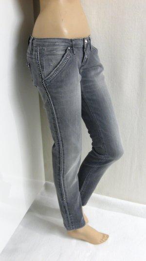 Jeans mit Strasssteinen, grau, Gr.29, neu