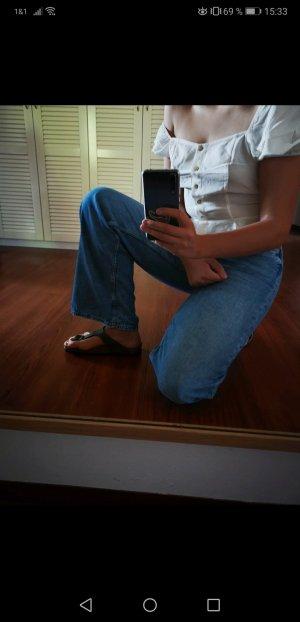 H&M Jeans a zampa d'elefante blu acciaio-blu fiordaliso Cotone