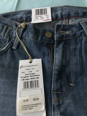 Mustang Jeans taille basse bleu acier coton