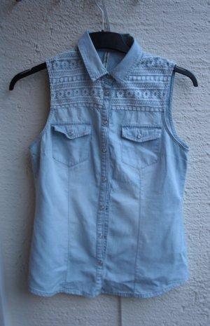 Jeans Oberteil mit Bestickung M