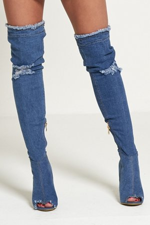 Jeans Overknee Denim Stiefel im Used Destroyed Look Gr. 39 neu