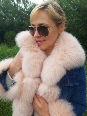 Jeans Parka Denim Pelz Mantel Color Rose Fuchs FUR SALE Coat Pelzmantel