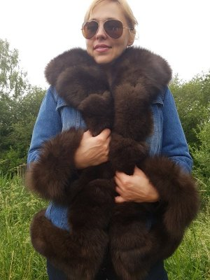 Jeans Parka Denim Pelz Mantel Color Sable Fuchs FUR SALE Coat Pelzmantel