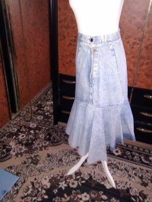 Apart Jupe en jeans bleu azur coton