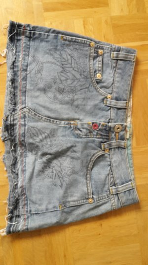 Jeans Rock Ornamente Fransen SPF