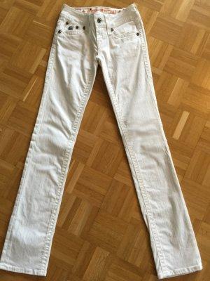 Jeans Rock Revival 25 weiß mit Strassknöpfen