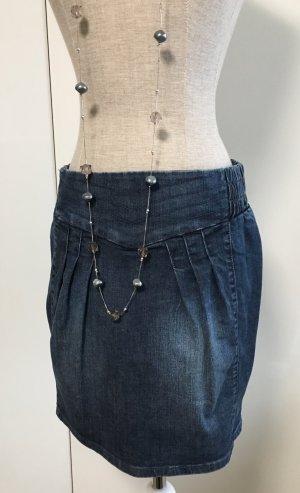 Jeans Rock vorne mit Falten