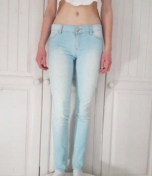 Jeans Röhrenjeans highwaist weiß hose high waist röhren blau weiß waschung hoher bund