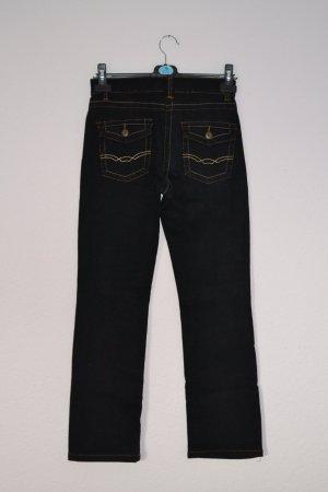 Jeans schwarz dunkelgrau auffällige Nähte aufgesetzte Taschen