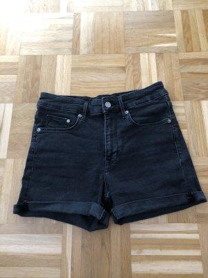 Topshop Pantalón corto de tela vaquera negro