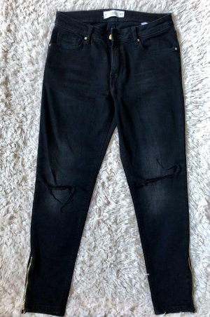 Mango Denim & Tees Drainpipe Trousers black