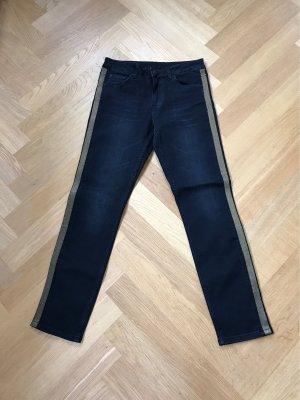Hallhuber Pantalon cinq poches noir-doré