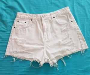 Topshop Pantalón corto de tela vaquera blanco-negro