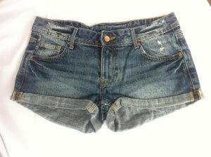 Jeans Shorts blau destroyed used look
