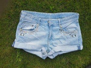 Jeans Shorts - hellblau - Strass - Gr. 40