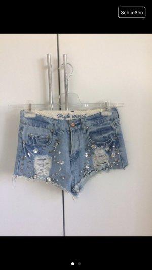 Jeans Shorts High Waist Shorts destroyed Nieten Glitzersteinen