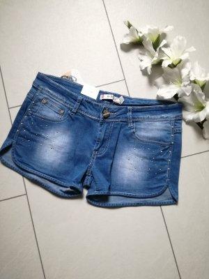 Jeans Shorts Hotpants Strass Kurze Hose Pants