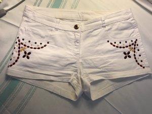 Jeans Shorts mit Applikationen, Gr. 34, guter Zustand.