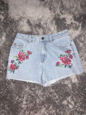 Jeans Shorts mit Blumenprint, Highwaist
