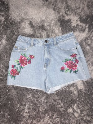 Jeans Shorts mit Blumenprint, Highwaist