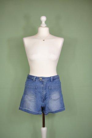 Jeans Shorts mit geflochtenen Bund im Vintage Stil