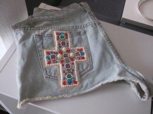 Jeans Shorts mit Glitzer Kreuz