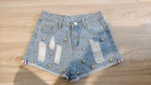 Jeans Shorts mit Perlen