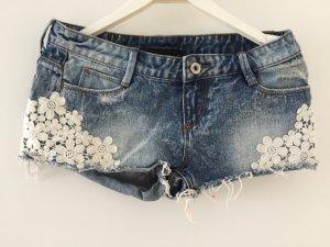 Jeans Shorts mit Spitze Gr 34