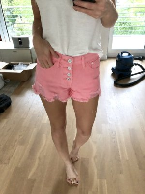 Jeans Shorts Rosa XS 34 Frayed Ripped Destroyed