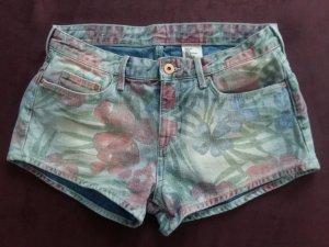 H&M Denim Shorts dark red-grass green cotton