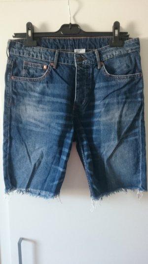 H&M Pantalón corto de tela vaquera azul oscuro