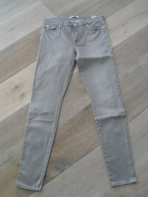 7 For All Mankind Jeans skinny gris-gris clair coton