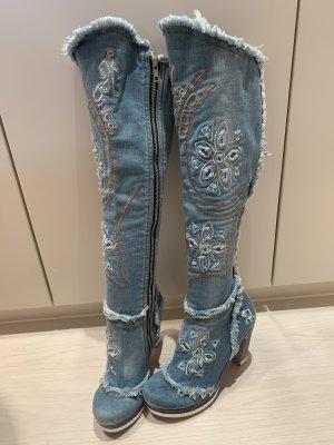 Jeans Stiefel gr 39 Di Jea Collection Jeansstoff Handarbeit