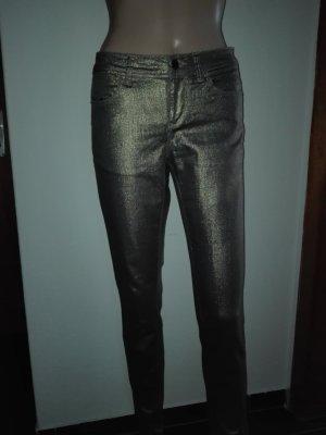 Jeans- Stoff Hosen aus Stretch Stoff in Gold- Bronze Farbe