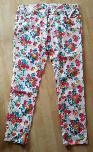 Jeans Stretch in Weiß mit Blumen Gr. 46
