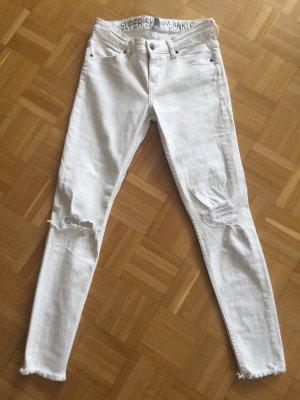 Jeans Super Skinny Ankle H&M Divided destroyed 36 weiß