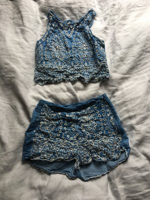 Jeans Twin set lochmuster Festival Shorts high waist bauchfreies top blau hot pants bauchfrei Hippie Blogger Trend boho chic