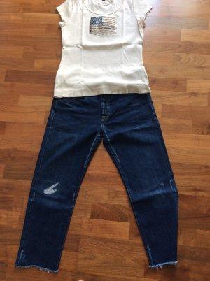 Lauren Jeans Co. Ralph Lauren Jeans a 7/8 beige chiaro-blu Cotone