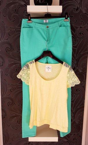 Vero Moda Pantalone elasticizzato turchese-giallo