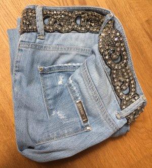 Jeans von MET im used look - mit Steinbesatz - NEU