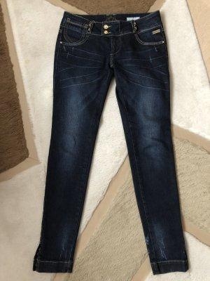 Nickelson Jeans taille basse bleu foncé-doré coton