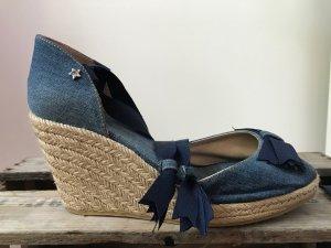 Jeans Wedges / Peeptoe mit Schnürung