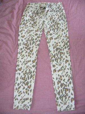 Jeans weiß Leoprint orange/braun Amisu S 36