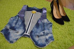 Jeans Weste mit Glitzer