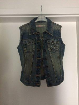 Jeans Weste mit Verzierungen