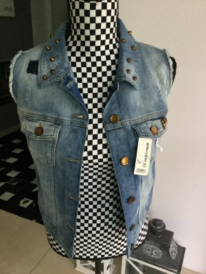 Jeans Weste Nieten Patches Rich&Royal Gr. S 36 Destroyed zu Maxikleid Nieten