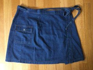 Jupe portefeuille bleu coton