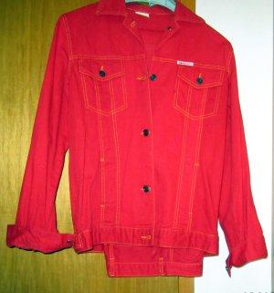 Jeansanzug-klassischer Schnitt Orginal 80's Vintage*YF-TopJeans*roter Denim-Gr.34
